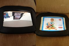 DIY iPad holder for the car ... GREAT FOR LONG CAR RIDES! Remove plastic mirror from the mirror holder and then insert iPad into the empty slot, It's that easy! Attach to headrest and let the kids enjoy!
