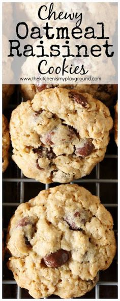 Chewy Oatmeal Raisinet Cookies ~ Change up those traditional oatmeal raisin cookies to add a little chocolate bonus!  www.thekitchenismyplayground.com