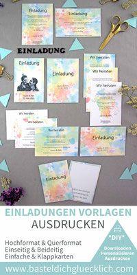Farbenfreude 229 Word Vorlagen Zum Ausdrucken Einladungskarten Hochzeit Selber Machen Diy Hochzeit Planen Hochzeitsschilder