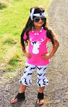 Hot Pink Deer Ruffle Capri Set #boutique-outfits #new #newborn-clothing #newborn-sets #perfect-sets #spring-line