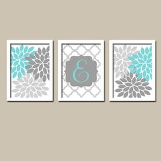 Aqua Wall Decor home decor canvas or prints, home decor wall art, aqua and gray