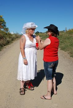 Redneck Wedding series. Bride and Maid of Honor. Why didn't we think of this Kj?! Could've saved money ha ha