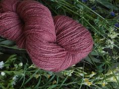 Natural plant dyed wool yarn in pink. FINGERING sock yarn weight. Organic. Suitable for knitting tablet weaving, crochet and nalbinding.