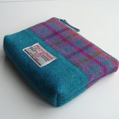 Pink and turquoise HARRIS TWEED makeup bag, cosmetics case