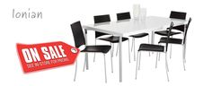 Ionian Dining Table $690 White gloss table top shown here with matching 'Kos' dining chairs.