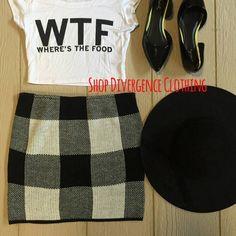 Shop Divergence CLothing   #floppyhat #miniskirt #streetstyle #sweaterweather #wtf #flats #chic #style #mystyle #fashion #model #nyc #highwaistedskirt #checkeredskirt #croptops #fallfashion