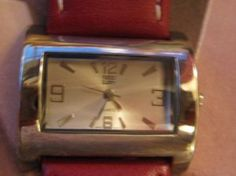 Watch Quartz movement Unisex RED Leather Band por VINTAGEARTJEWELRY, $12.00