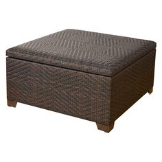 Wicker Brown Indoor / Outdoor Storage Ottoman - Tie any living space together with the Wicker Brown Indoor/Outdoor Storage Ottoman. Its large concealed storage section makes keeping the room tidy a ...