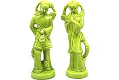 Green Porcelain Figurines, Pair