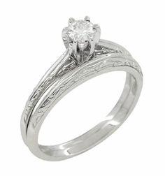 Engraved Scrolls Art Deco Diamond Engagement Ring and Wedding Ring Set in Platinum - Item R670P - Classic vintage 1920's engagement set design with carved scrolls and a certified diamond! - https://www.antiquejewelrymall.com/products/r670p