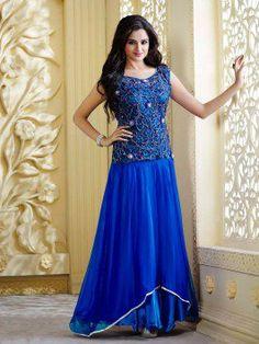 Blue Net Wedding Gown (Free Size)