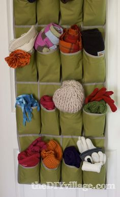 Use an over-the-door shoe organizer for winter accessories like gloves and hats! Great idea by @thediyvillage
