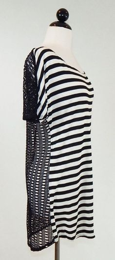 ELLA MOSS Oversized Black Off White Striped with Sheer Lace Back Cover Up Top S #EllaMoss #KnitTop #Casual
