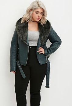 Plus Size Faux Fur Moto Jacket | Forever 21 PLUS - 2000174460