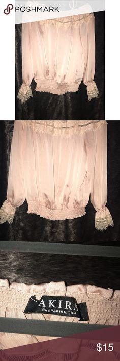 Akira off the shoulder blouse Never worn off the shoulder blouse color is blush pink AKIRA Tops Blouses