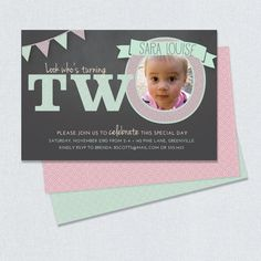 Custom Chalkboard Birthday Invitation With Photo By PaintByInvite 1500 Look Whos Turning Two