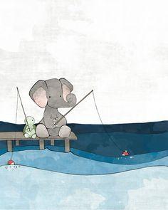 Turtle and Elephant Nursery Art Print - Childrens Room Decor, Fishing Friends, Nautical Nursery Wall Art, Blue and Grey