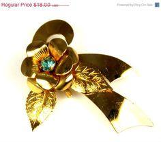 Vintage Coro Blue Rhinestone Open Flower Ribbon Brooch #etsy #jewelry