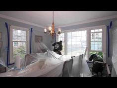 New Windows being installed in Long Island Dining Room - from Renewal by Andersen  ..........  Home Improvement / Home Renovation / Home Remodeling / Double Hung and Picture Windows from Renewal by Andersen Long Island