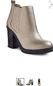 Sam Libby Ankle Block Heel Boots Size 8 1 2 Pewter Metal Textured Finish | eBay
