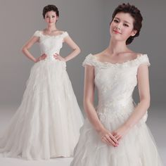 Fancy off shoulder organza wedding dress in floor-length