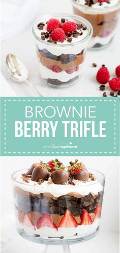 Brownie strawberry trifle made with layers of strawberries, chocolate pudding, cream and brownies. This trifle dessert has the perfect combination of flavors and tastes absolutely delicious. One of my favorite trifle recipes! #brownies #strawberry #strawberries #strawberriesandcream #dessert #dessertrecipes #easy #easyrecipe #recipe #iheartnaptime