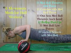 Medicine ball & bodyweight workout that you can do outdoors, at home or in a hotel room. Doesn't require much space!