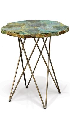 Palecek, Malachite Side Table, End Tables U0026 Accent Tables, Wrought Iron  Base, Pewter Gold