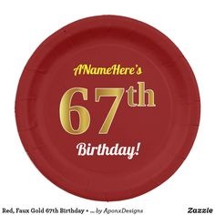 Red, Faux Gold Birthday + Custom Name Paper Plate NineteenYearsOld birthday nineteenth 682928730974468159 Paper Napkins, Paper Plates, Paper Plate Design, 65th Birthday, Cake Servings, Party Tableware, Birthday Greeting Cards, Biodegradable Products, Wrapping
