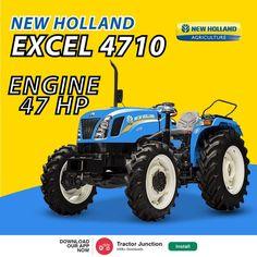 New Holland Excel 4710 में है 3 Cylinder और 47 HP का Engine. और साथ में है 1800 KG की Lifting Capacity. #TractorJunction#loan #price #Specifications #NewHolland Tractor Price, New Holland Tractor, Tractors, Monster Trucks