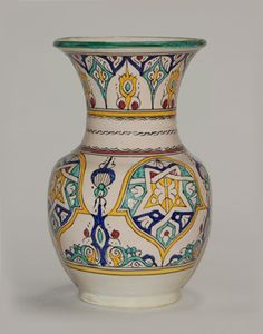 Moroccan Green Ceramic Pottery Vase with Fes Design