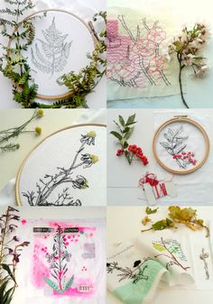 Botanical sketches in stitch - The theme for this years upcoming workshops , the keyword here being 'sketching'... lots of fun, creativity and letting loose with a needle and thread :) ...... some example pieces.
