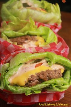 Lettuce-Wrapped Cheeseburgers- Lettuce-Wrapped Cheeseburgers Amira's Pantry amiraspantry Low cal./ Low carb and healthy recipes Lettuce-Wrapped Cheeseburgers Low Carb Recipes, Beef Recipes, Cooking Recipes, Recipies, Atkins Recipes, Cooking Bacon, Chicken Recipes, Vegetarian Cooking, Carb Free Foods