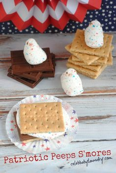 Patriotic Peeps Smores - Not only can s'more be a beloved campfire treat, but a perfect festive snack for Independence Day (4th of July).  Make these Patriotic Peep S'mores at home or by the bonfire if your family plans to spend the long weekend camping! #Peeps #Smores #IndependenceDay