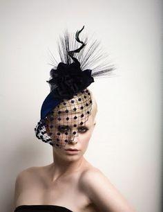 High Fashion cocktail Hat Fascinator Headpiece by ArturoRios, Vintage Headpiece, Vintage Veils, Sombreros Fascinator, Cocktail Hat, Fancy Hats, Love Hat, Turbans, Horse Hair, Derby Hats