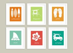 Surfer Decor Set of 6 Surf Wall Art Surfboards by twowhiteowls