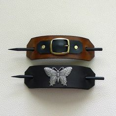 Retro Style Leather Hair Barrettes with by ExpressionsInLeather
