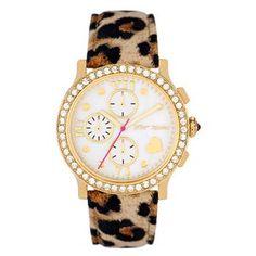Betsey Johnson Boyfriend Chronograph with Leopard Leather Strap #VonMaur #GoldandBrown