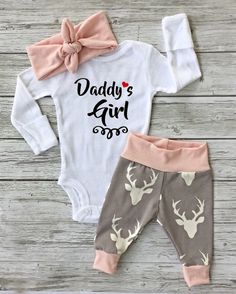 Kidborn Baby Clothes Daddy's Girl Romper Bodysuit Playsuit+Deer Pants Outfit #ebay #Home & Garden