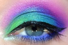 "Gorgeous bright green/blue/purple/pink ""peacock"" look from the UD Electric palette"