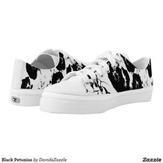 Black Petunias Low Top Shoes  Available on more products, type in the name of this design in the search bar on my products page to view them all!  #petunia #floral #flower #black #white #pattern #print #all #over #abstract #plant #nature #earth #life #style #lifestyle #chic #modern #contemporary #men #women #kids #sandal #flip #flop #shoes
