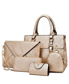 e2ed8e7f1cad Luxury Plaid Pattern Women Handbag PU Leather Bag Five Pieces Per Set  Luxury Handbags