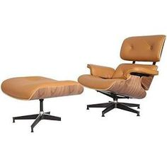 Midcentury Plywood Lounge Chair & Ottoman, 2-Piece Set, Light Brown, W, Light Brown/Brown, Chairs,Leather, by Modern Interiors