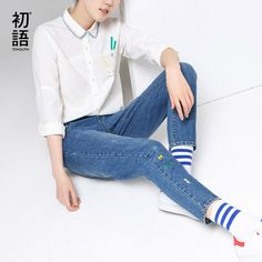 Toyouth Jeans Woman Casual Spliced Denim Pants Ripped Embroidery Pattern Mid-waist Slim Trousers  #beauty #sweet #pretty #shopping #dress #styles #instastyle #stylish #cute #beautiful