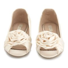 Wedding Shoes – Ivory peep toe ballet flats - eaWedding