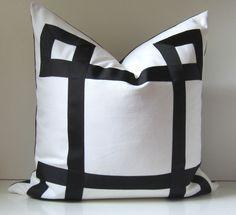 Black and White Pillow - 22 inch - Decorative Pillow - Black Ribbon embellishment - euro sham - made to order. $58.00, via Etsy.