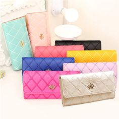 Women Quilted Crown Clutch Long Purse Faux Leather Wallet Card Holder Handbag , https://myalphastore.com/products/women-quilted-crown-clutch-long-purse-faux-leather-wallet-card-holder-handbag/,