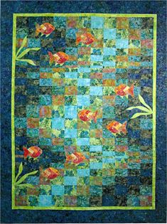 QUILTING TIME MOLOKINI BAY #175 QUILT PATTERN FINISHES AT 58 X 72  This pretty ocean quilt would be fun to make using your favorite batiks! Molokini Bay features a bargello strip pieced background with striped fish, finishing at 58 x 72.