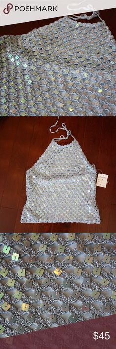 NWT 90s Handmade Silk-Lined Sequins Halter Brand new, never worn crochet sequin top with halter neckline. Handmade from Pamplona, size small with a bit of stretch. Pamplona Tops Tank Tops