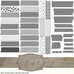 360 pieces of gray & white Digital Tape (24 patterns in 15 different sizes) Files are PNG with a transparent background.  The tapes are great for blogging, scrapbooks, cards, invitations, and more... $4.75 #digital, #tape, #washi, #patterns, #chevron, #checks, #stripes, #polka dots, #damask, #Moroccan, #argyle, #gray, #grey, #white, #scrapbooking, #cards